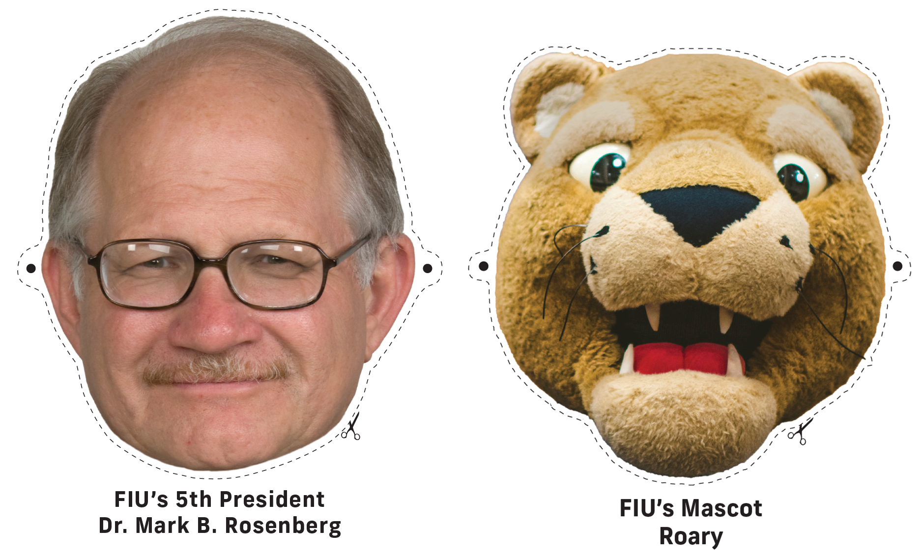 FIU President Mark B. Rosenberg and Roary Printable Masks